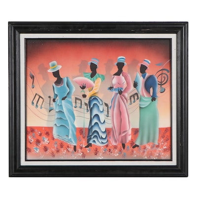 Airbrush Painting of Dancing Figures, Late 20th Century