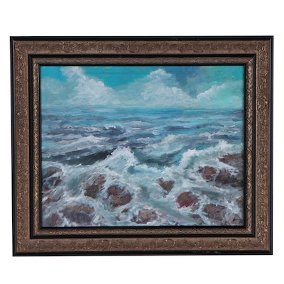 """Robert Riddle-Baker Acrylic Painting """"On The Rocks"""""""