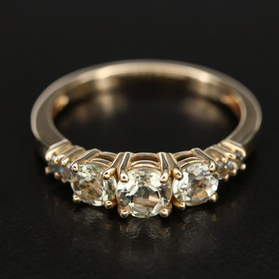 10K Heliodor and Aquamarine Ring