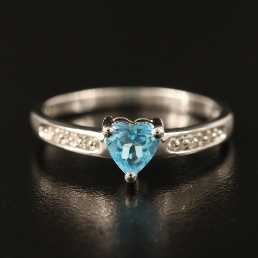 10K Swiss Blue Topaz and Diamond Heart Ring