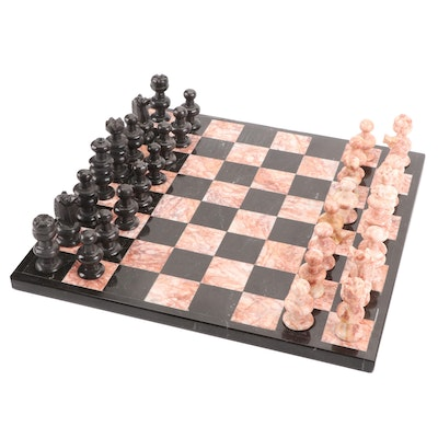 Carved Pink and Black Marble Chess Set