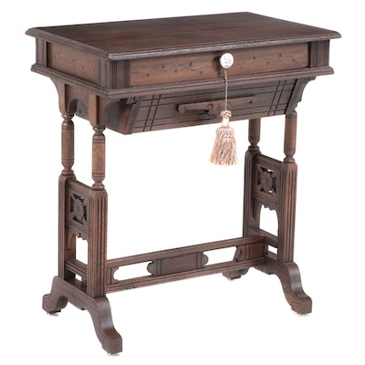 Victorian Walnut Trestle-Base Sewing Table, Late 19th Century