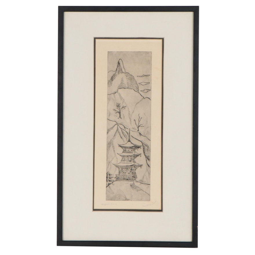 Muriel O. Wilson East Asian Landscape Drypoint Etching