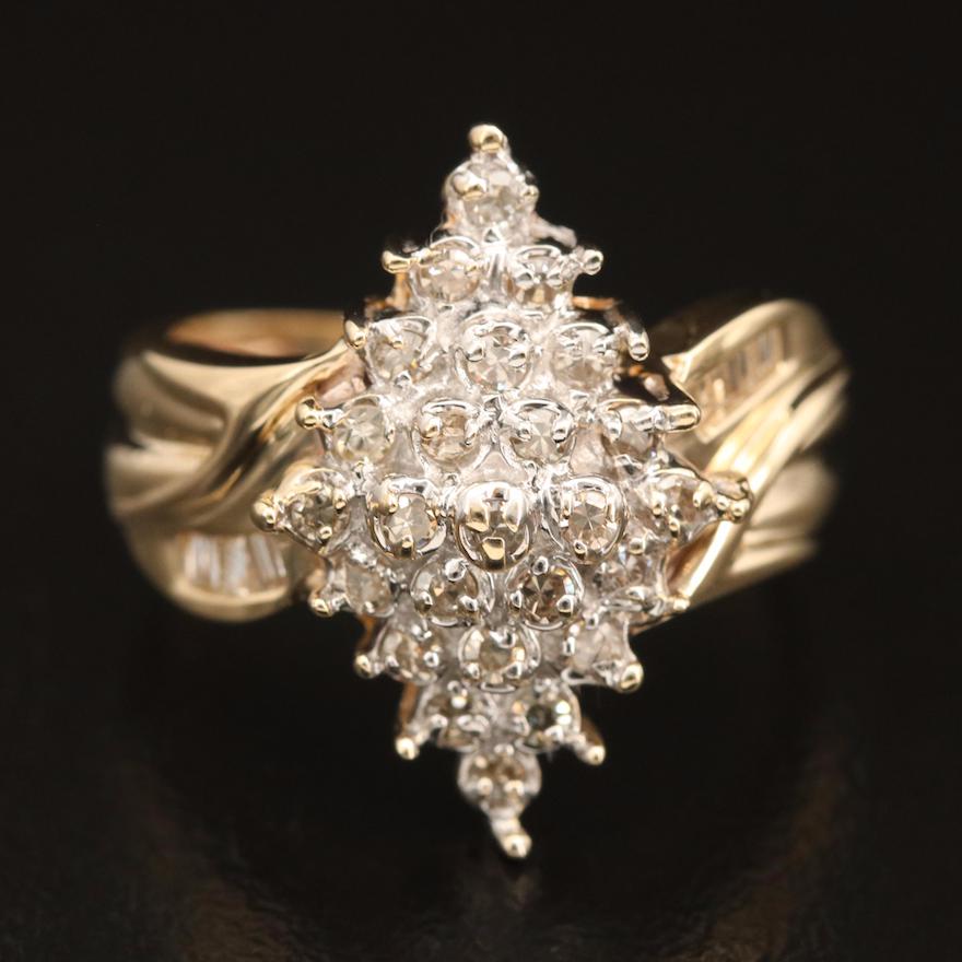 10K 0.46 CTW Diamond Cluster Navette Ring