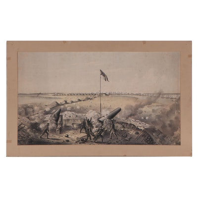 """Lithograph After James Madison Alden """"Bombardment of Fort Fisher,"""" 1865"""