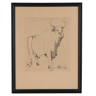 Minimalist Style Etching of a Bull, Mid-20th Century