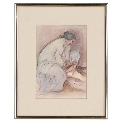 "Offset Lithograph After R. C. Gorman ""Woman Grinding Corn"""