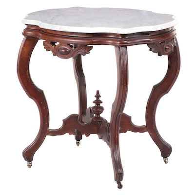 American Rococo Revival Carved Walnut and White Marble Side Table