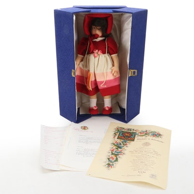Lenci Italian Felt Doll Elena with Carrying Case and COA, 1982