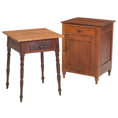 Cherry Cabinet and Walnut One-Drawer Table, Late 19th to Early 20th Century