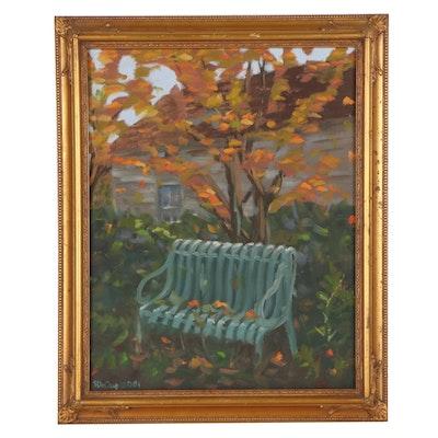Autumn Landscape Oil Painting of a Park Bench, 2001