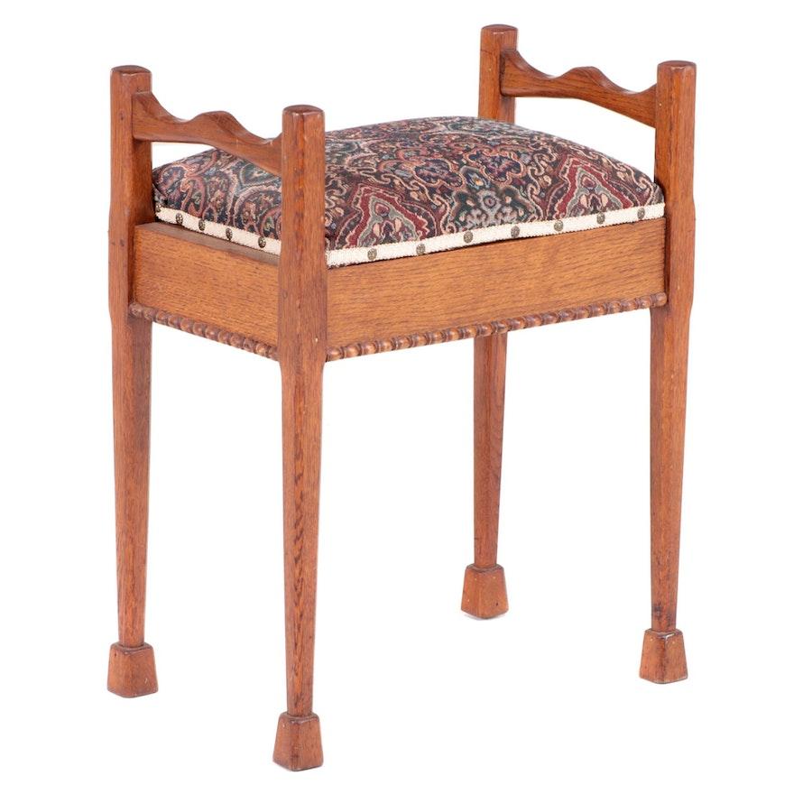 American Quartersawn Oak Lift-Seat Piano Bench, Early 20th Century