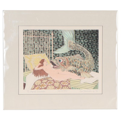 """Curt Frankenstein Hand-Colored Etching """"The Magical Bedchamber"""""""
