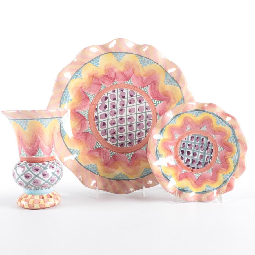 """MacKenzie-Childs """"Keukenhof"""" Hand-Painted Platter, Plate, and Vase"""