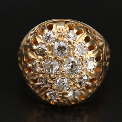 14K 2.00 CTW Diamond Floral Cluster Ring with Scrollwork
