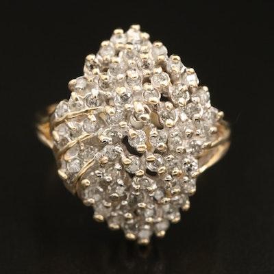 10K 0.91 CTW Diamond Organic Cluster Ring