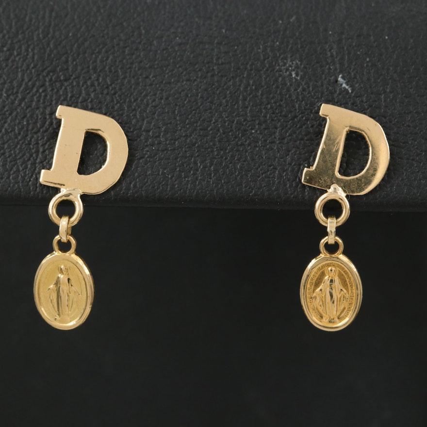 18K Devotional Medal Earrings