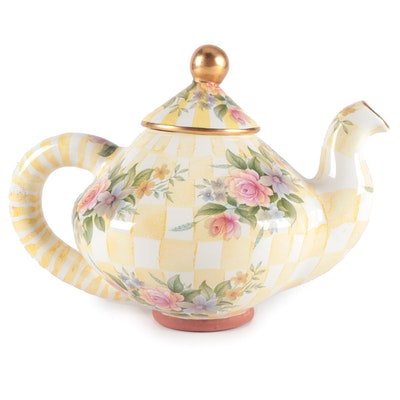 "MacKenzie-Childs ""Lemon Curd"" Hand-Painted Terracotta Teapot"