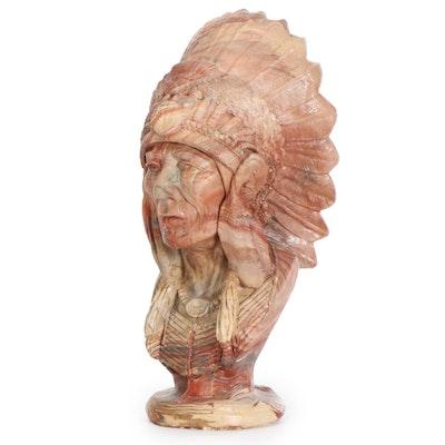 "Gregory Kickingbird Warren Chulengo Clay Sculpture ""Chief Sitting Bull"""