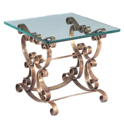Hollywood Regency Style Gilt Iron and Glass Top Side Table
