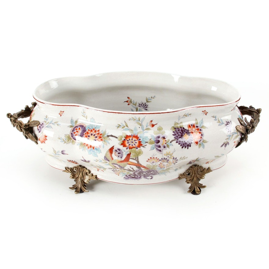 Chinese Glazed Ceramic Planter with Floral Motif