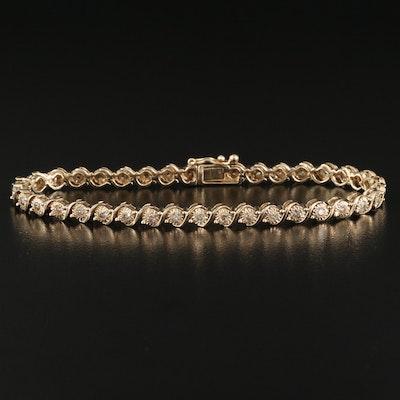 Sterling Silver 1.00 CTW Diamond 'S' Link Line Bracelet