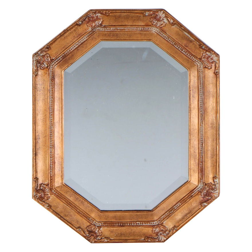 Octagonal Gilt Composite and Beveled Glass Wall Mirror, Late 20th Century