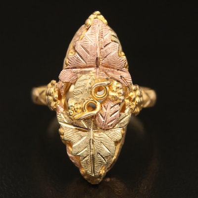 Black Hills Gold Jewelry Co. 10K Ring with 12K, Rose and Green Gold Accents
