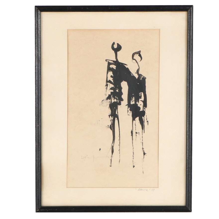 """Abstract Figurative Ink Painting """"Deux,"""" 1969"""