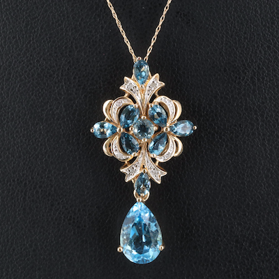 10K London and Swiss Blue Topaz and 0.05 CTW Diamond Pendant Necklace