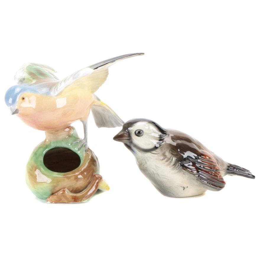 Goebel Sparrow with Spode Robin Porcelain Bird Figurines