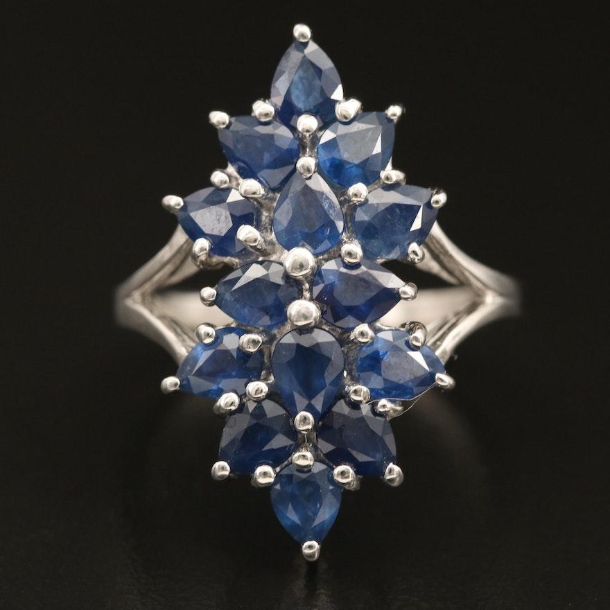 Sterling Sapphire Cluster Navette Ring