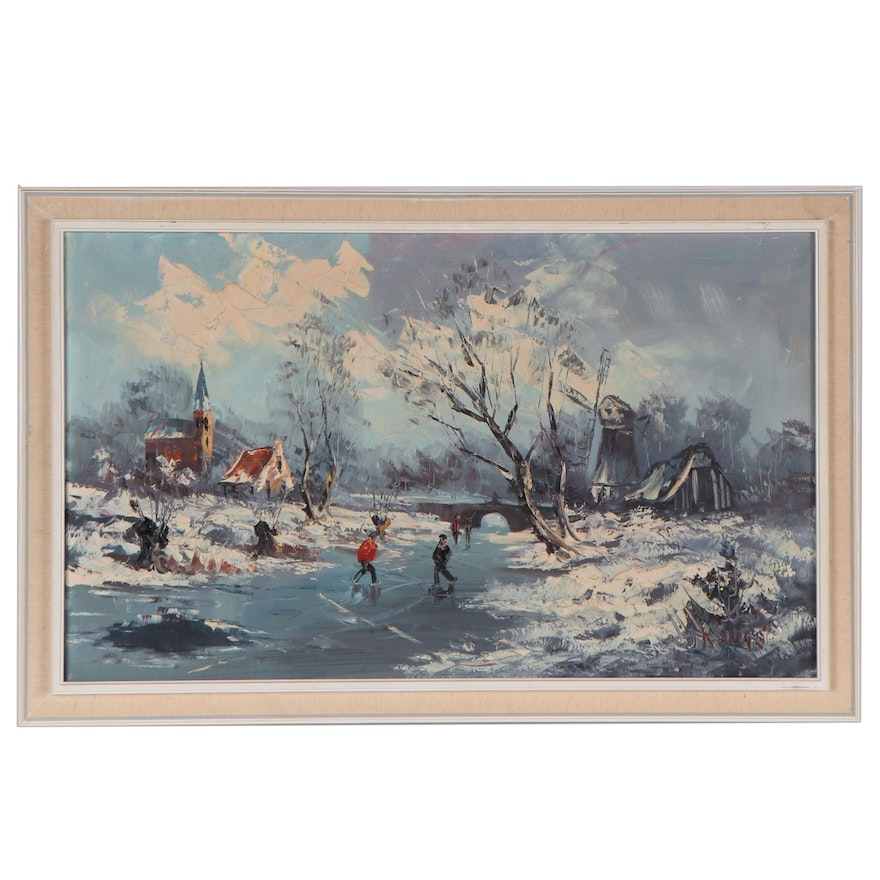 Impasto Oil Painting of an Ice Skating Scene, Late 20th Century