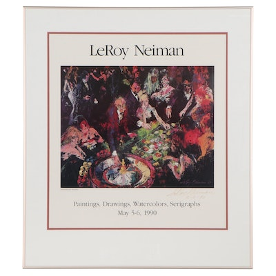 """LeRoy Neiman Offset Lithograph Exhibition Poster """"International Roulette,"""" 1990"""