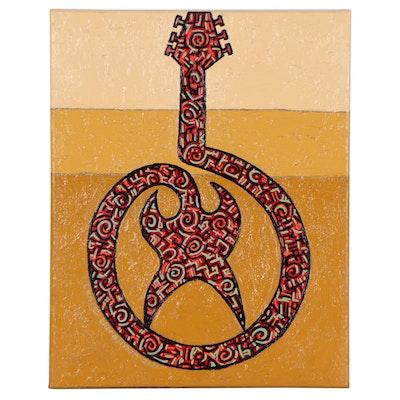 "Lanre Buraimoh Acrylic Painting ""Modern Guitar II,"" 2021"