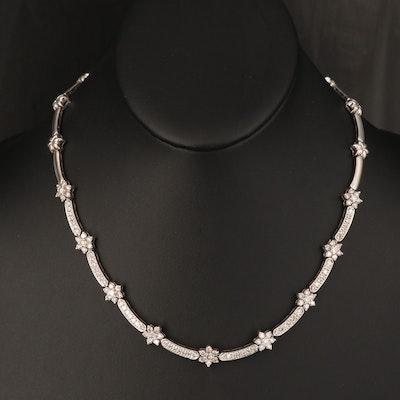 14K 4.47 CTW Diamond Floral Necklace