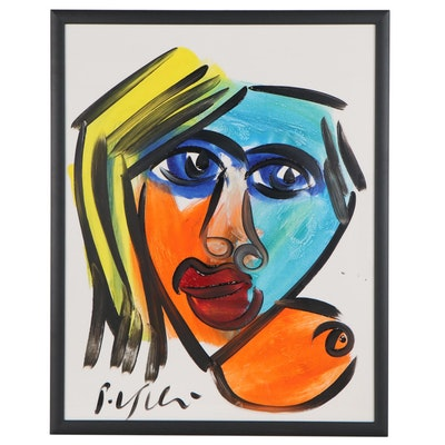 Peter Keil Abstract Portrait Acrylic Painting