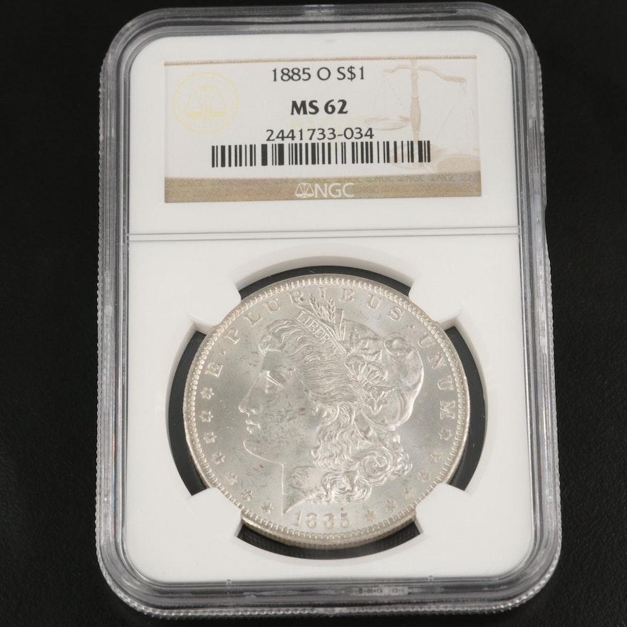 NGC Graded MS62 1885-O Morgan Silver Dollar