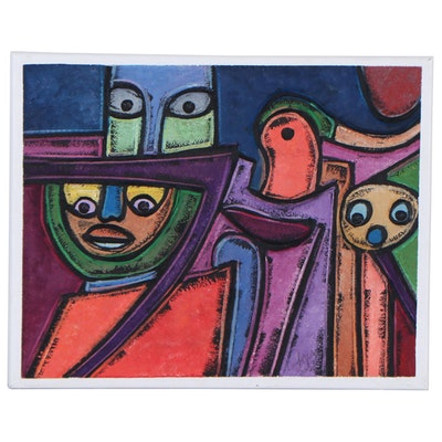"Lanre Ayuba Embellished Acrylic Painting ""Lanre Ayuba,"" 2021"