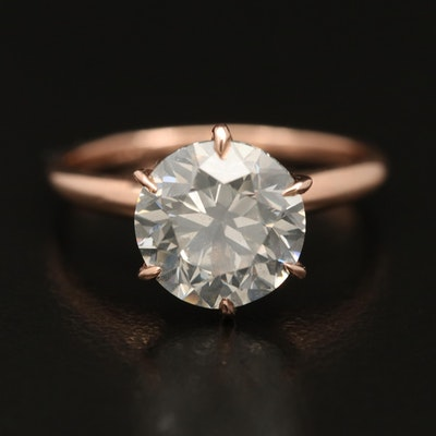 14K Rose Gold 3.00 CT Diamond Solitaire Ring