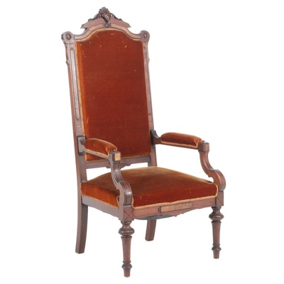 American Renaissance Revival Carved and Burl Walnut Armchair