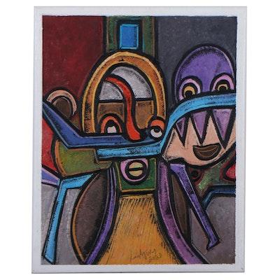 "Lanre Ayuba Embellished Acrylic Painting ""Dreamers,"" 2021"