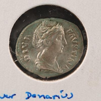 Ancient Roman Imperial AR Denarius of Faustina I, ca. 161 A.D.