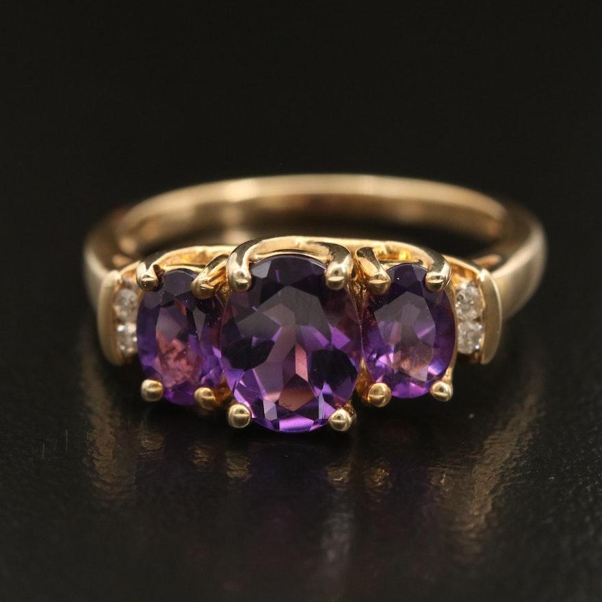 10K Amethyst and Diamond Trellis Ring