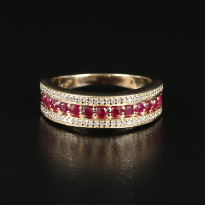 14K Ruby and 0.12 CTW Diamond Ring