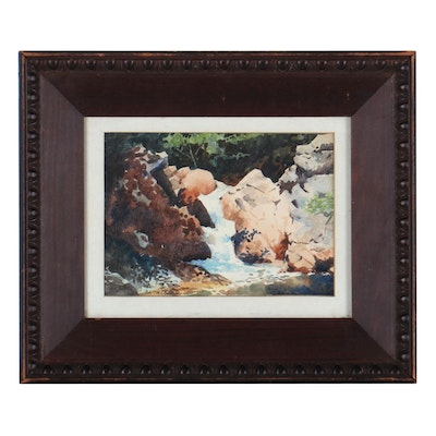 Batchelder Watercolor Painting of Small Waterfall, Mid-20th Century