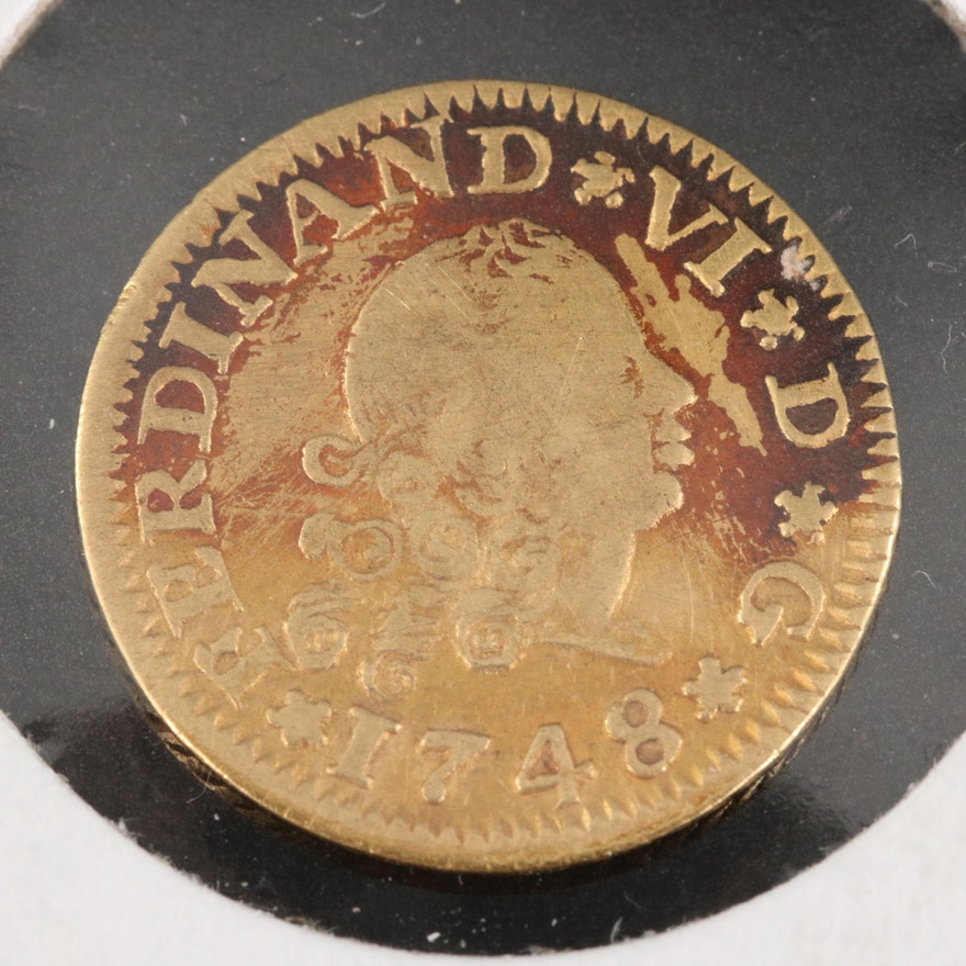 1748 Spain 1/2 Escudo Gold Coin