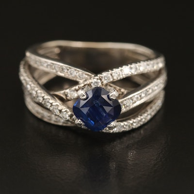 14K 1.36 CT Sapphire and 0.84 CTW Diamond Crossover Ring