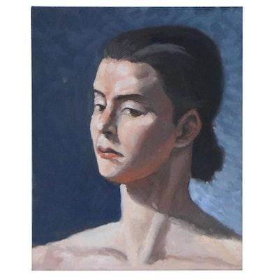 Portrait Oil Painting of Woman, 21st Century