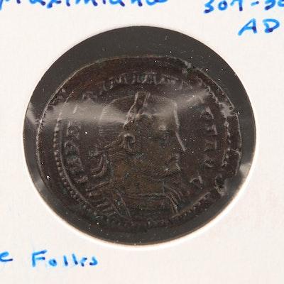 Ancient Roman Imperial AE Follis Coin of Maximianus, ca. 307 A.D.